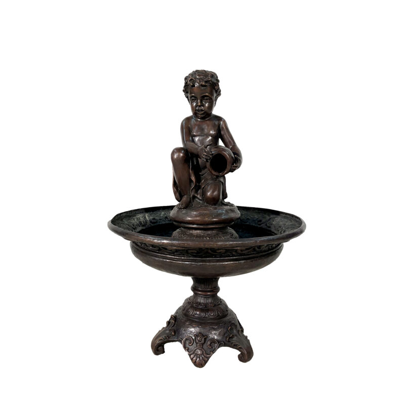 SRB706279 Bronze Boy pouring Jar in Tray Fountain Sculpture by Metropolitan Galleries Inc