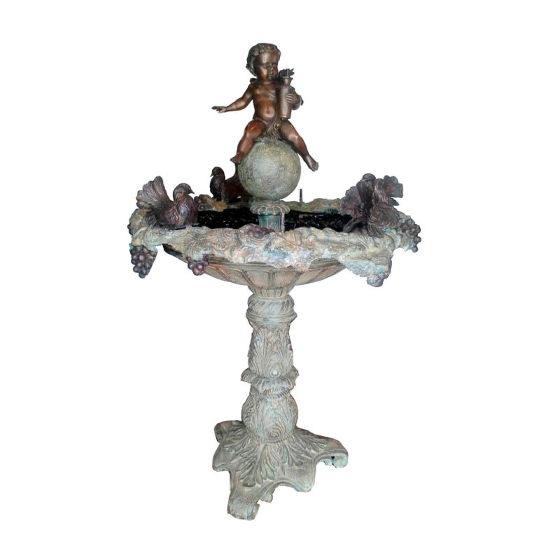 SRB706895 Bronze Boy with Birds Fountain by Metropolitan Galleries Inc