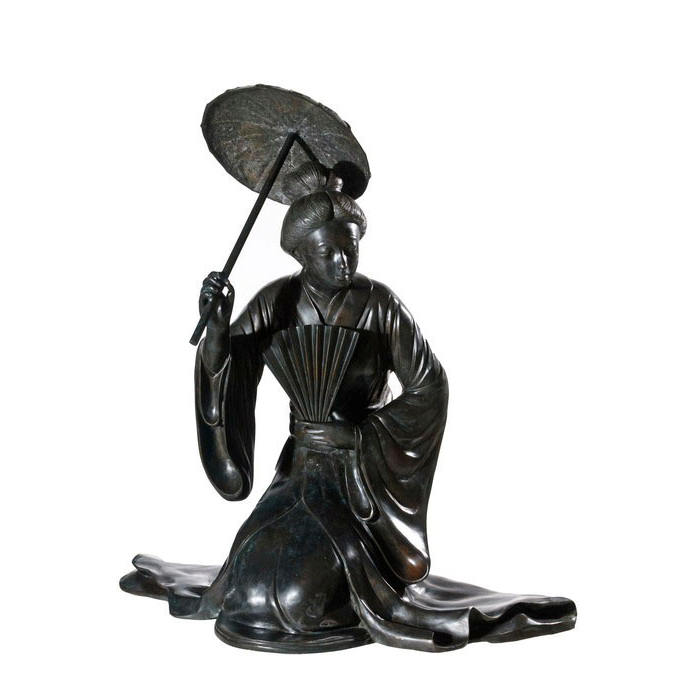 SRB992238 Bronze Japanese Lady with Shade Sculpture by Metropolitan Galleries Inc