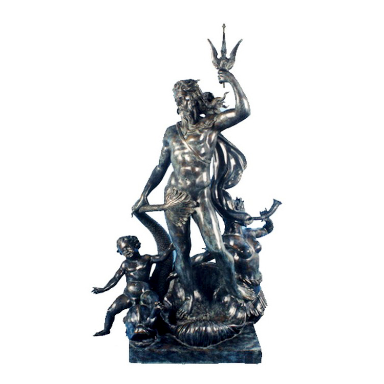 SRB992305 Bronze Neptune with Child Fountain Sculpture by Metropolitan Galleries Inc