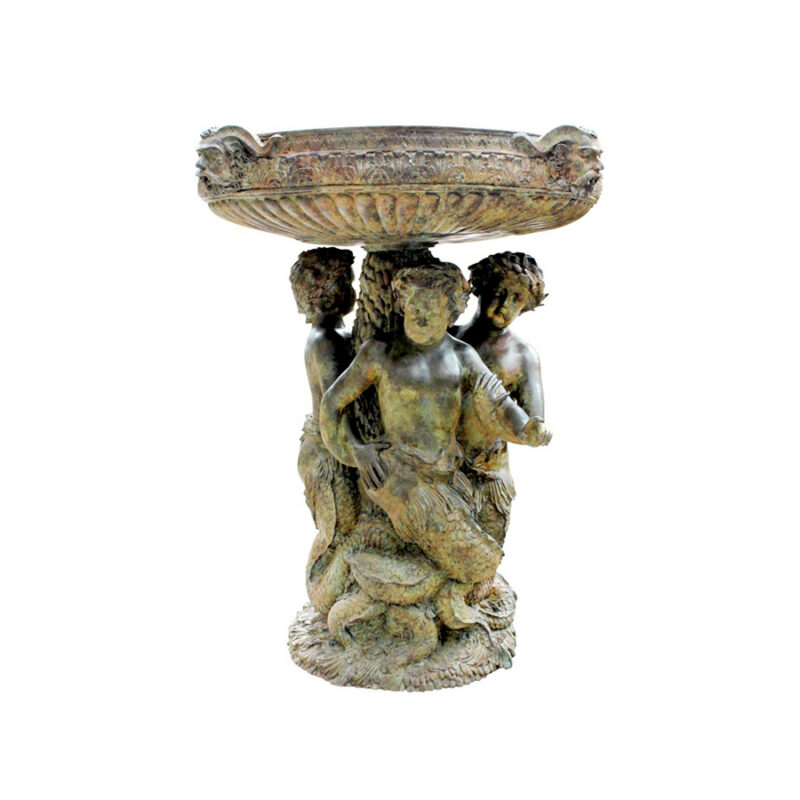 SRB992512 Bronze Three Merboys Urn Fountain by Metropolitan Galleries Inc