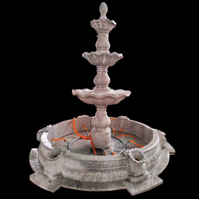 JBF056 Marble Tuscan Three Tier Fountain with Basin by Metropolitan Galleries Inc