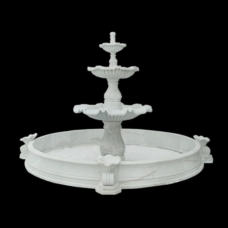 JBF059 Marble Three Tier Fountain with Basin Customizable Size by Metropolitan Galleries Inc