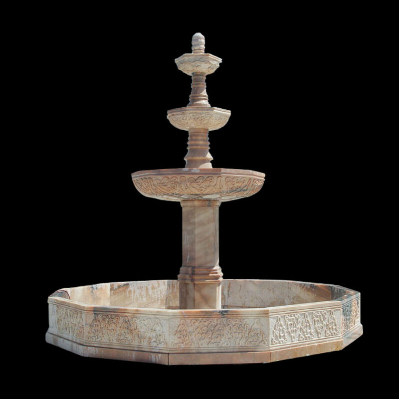 JBF060 Marble Three Tier Fountain with Octagonal Basin in Travertine by Metropolitan Galleries Inc