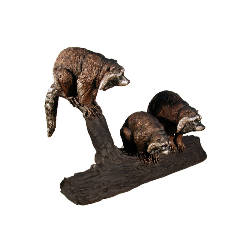 SRB029458 Bronze Three Raccoons on Log Sculpture French Brown by Metropolitan Galleries Inc