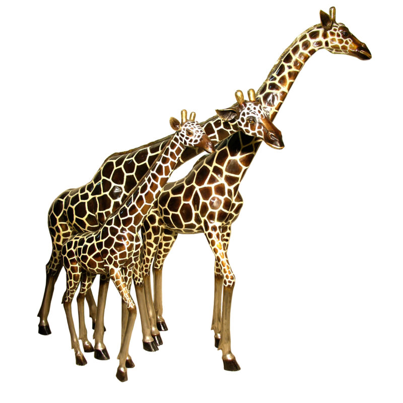 SRB050480-90C Bronze Giraffe Family Sculpture Set by Metropolitan Galleries Inc