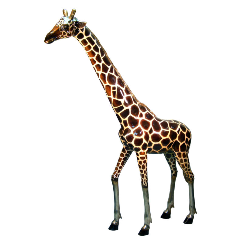 SRB050480C Bronze Large Giraffe Sculpture with Color Patina by Metropolitan Galleries Inc.