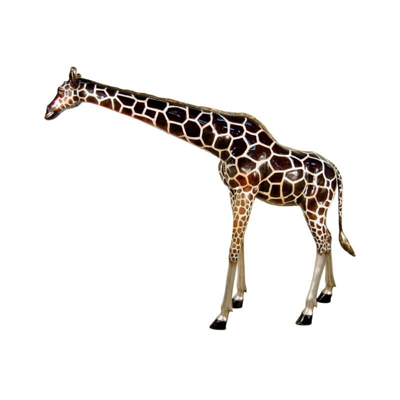 SRB050485C Bronze Large Giraffe Sculptuer with Color Patina by Metropolitan Galleries Inc