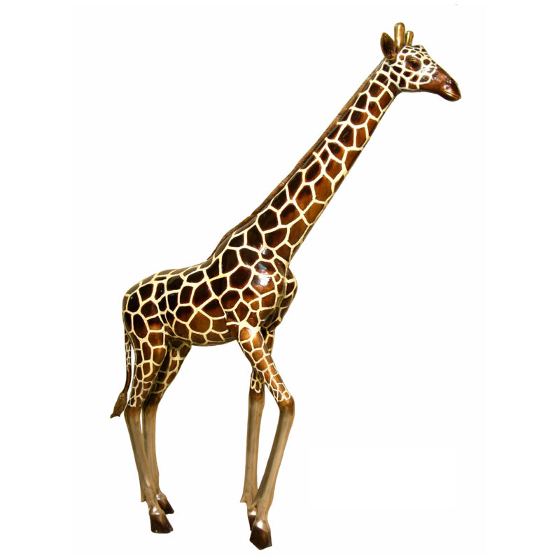 SRB050490C Bronze Large Giraffe Sculpture with Color Patina by Metropolitan Galleries Inc