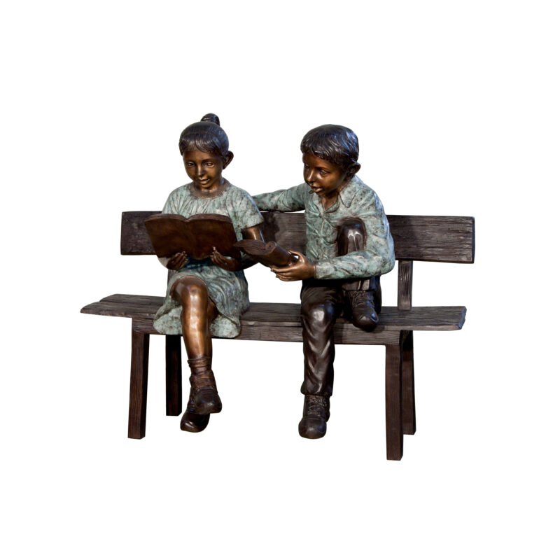 SRB050642 Bronze Boy & Girl Reading Books on Bench Sculpture by Metropolitan Galleries Inc