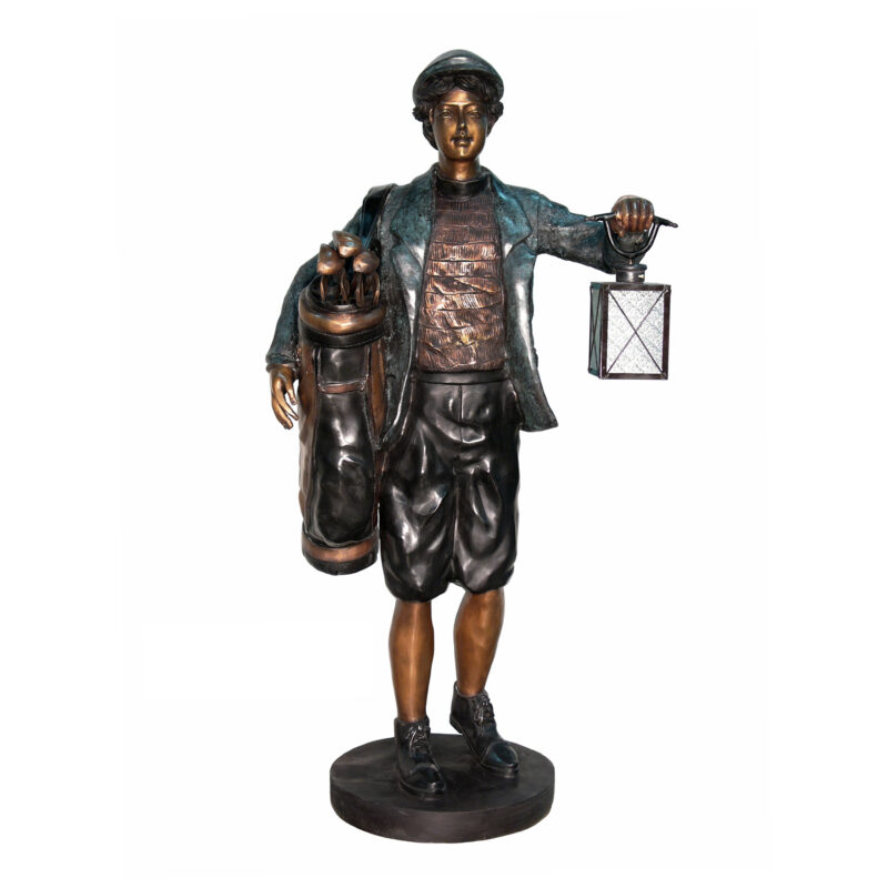 SRB052656 Bronze Golf Caddy Lantern Sculpture by Metropolitan Galleries Inc