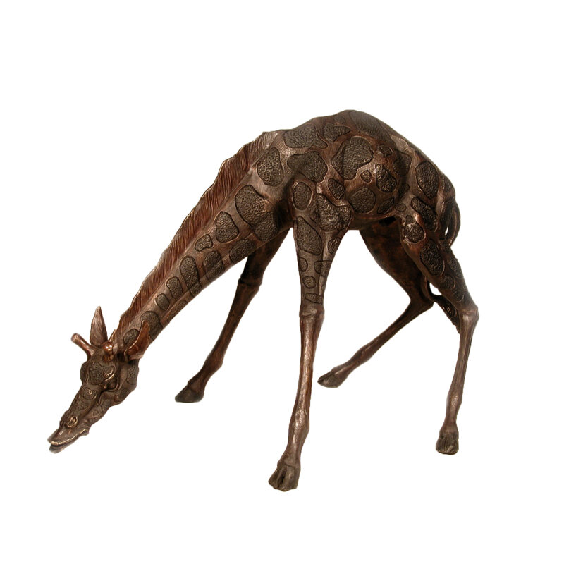 SRB055018 Bronze Giraffe with Neck Down Sculpture by Metropolitan Galleries Inc