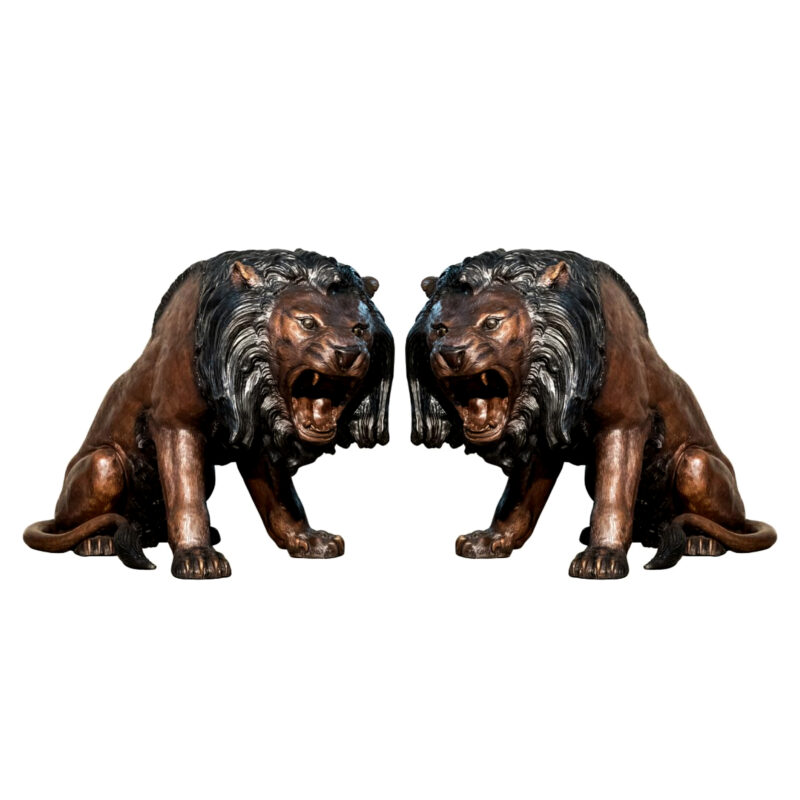 SRB056668 Bronze Roaring Lion Sculpture Pair by Metropolitan Galleries Inc