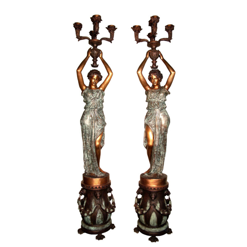 SRB084053 Bronze Lady holding Candelabra Sculpture Pair by Metropolitan Galleries Inc