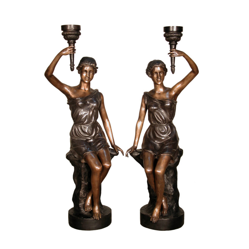 SRB086022 Bronze Lady on Rock Torchiere Sculpture Pair by Metropolitan Galleries Inc