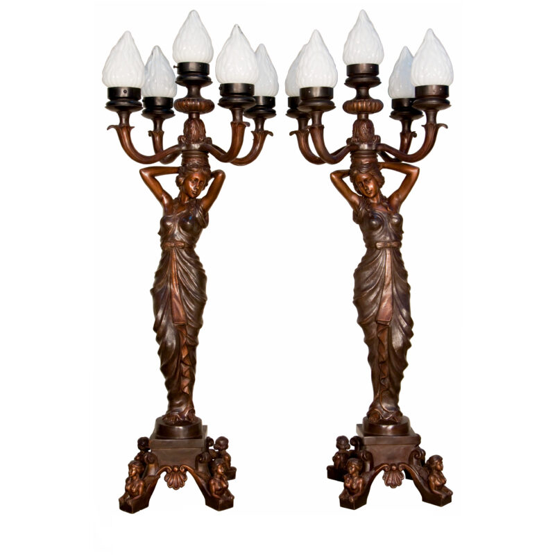 SRB094308 Bronze Lady with Five Lights Sculpture Pair by Metropolitan Galleries Inc