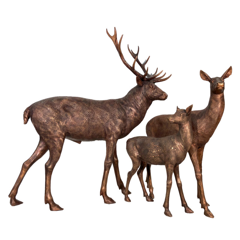 SRB10119 Bronze Deer Family of Three Sculpture Set exclusive by Metropolitan Galleries Inc web