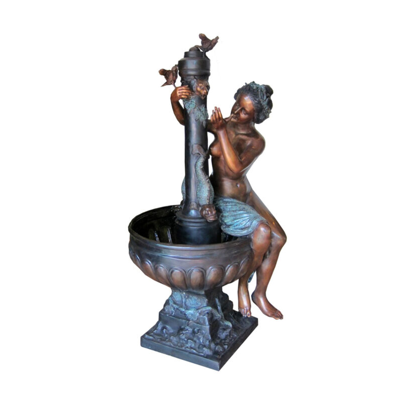 SRB703169 Bronze Nude Woman by Birdbath Fountain Sculpture by Metropolitan Galleries Inc