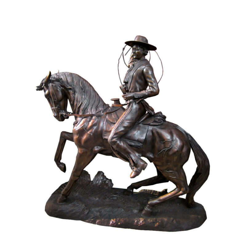 SRB704871 Bronze Cowboy on Horse Sculpture by Metropolitan Galleries Inc