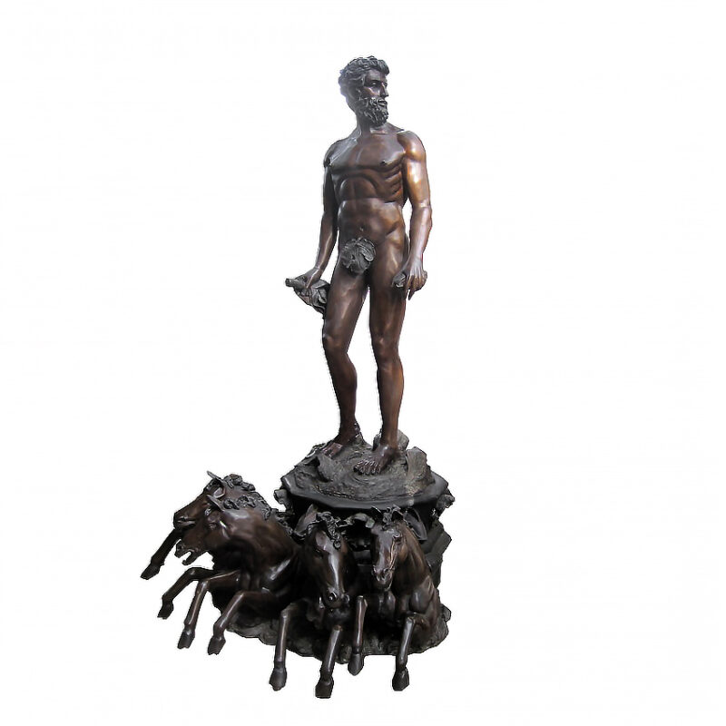 SRB705599 Bronze Zeus & Horses Fountain Sculpture by Metropolitan Galleries Inc