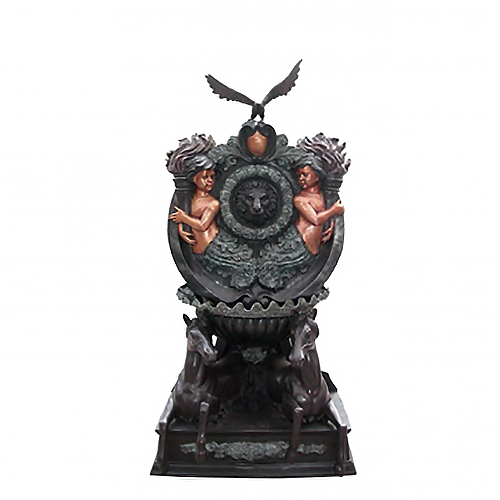 SRB706003 Bronze Boys & Horses Wall Fountain with Eagle by Metropolitan Galleries Inc