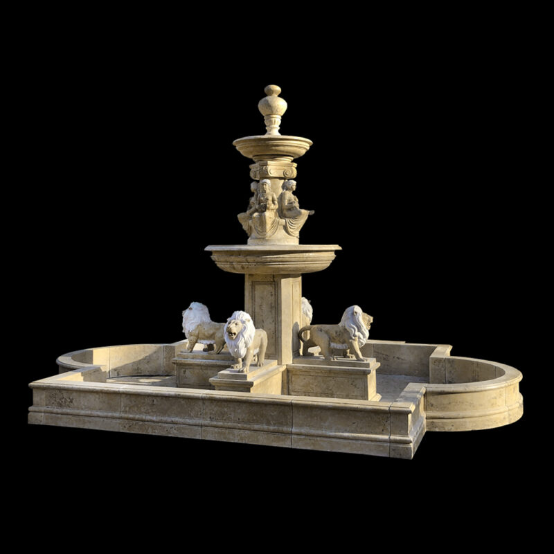 JBF007 Marble Four Lions Tier Fountain with Basin by Metropolitan Galleries Inc