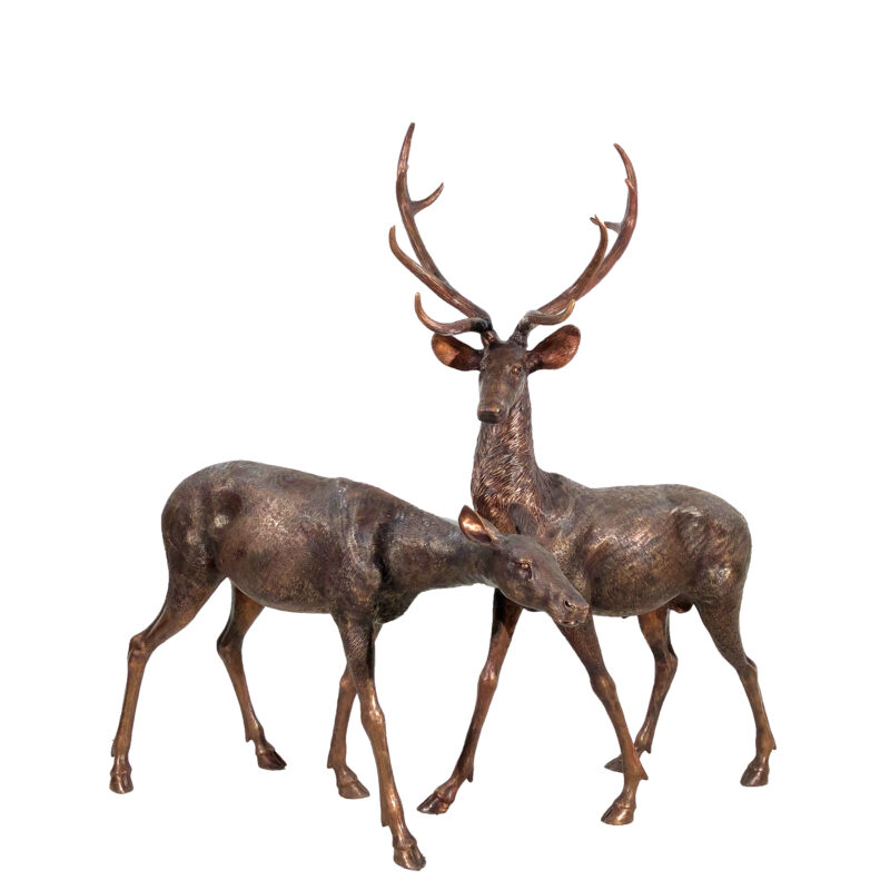 SRB15055-56 Bronze Buck & Doe Sculpture Set Maple Patina by Metropolitan Galleries Inc