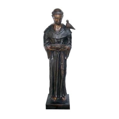 SRB706026 Bronze Saint Joseph with Bird Sculpture by Metropolitan Galleries Inc