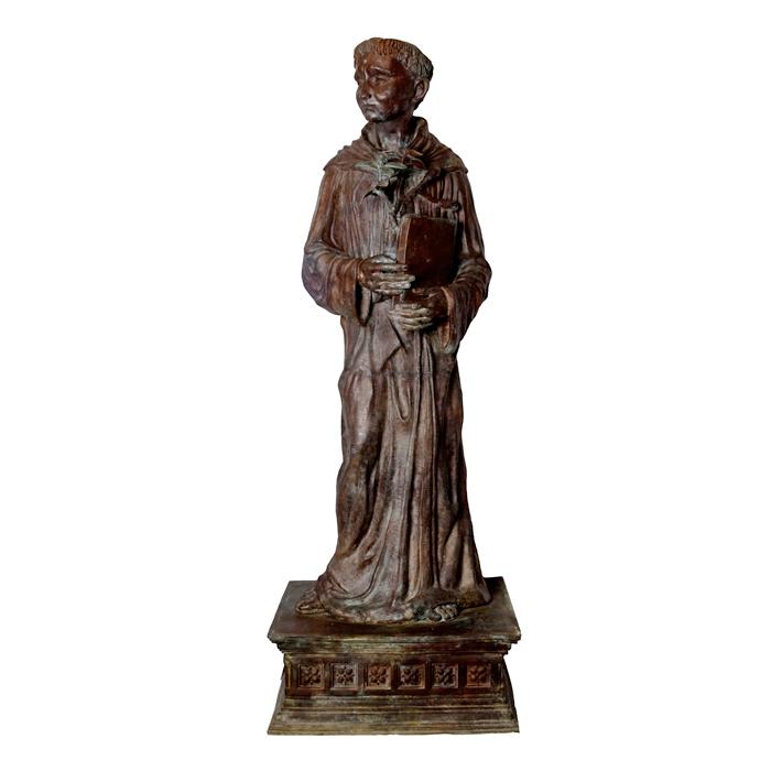 SRB88840 Bronze Catholic Priest atop Base Sculpture by Metropolitan Galleries Inc