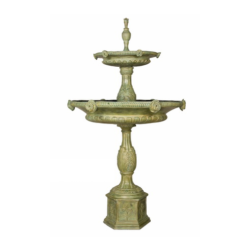 SRB018081-G Bronze Classical Rose Tier Fountain Green Patina by Metropolitan Galleries Inc