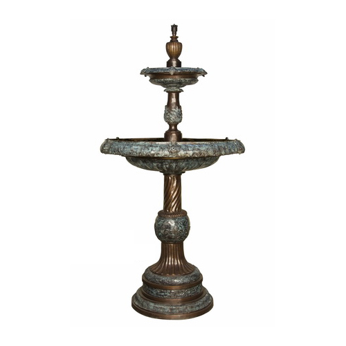 SRB018083-BG Bronze Classical Leaf Tier Fountain Two Tone Brown and Green by Metropolitan Galleries Inc