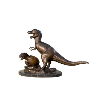 SRB049009 Bronze Dinosaur with Baby & Egg Sculpture on Marble Base by Metropolitan Galleries Inc