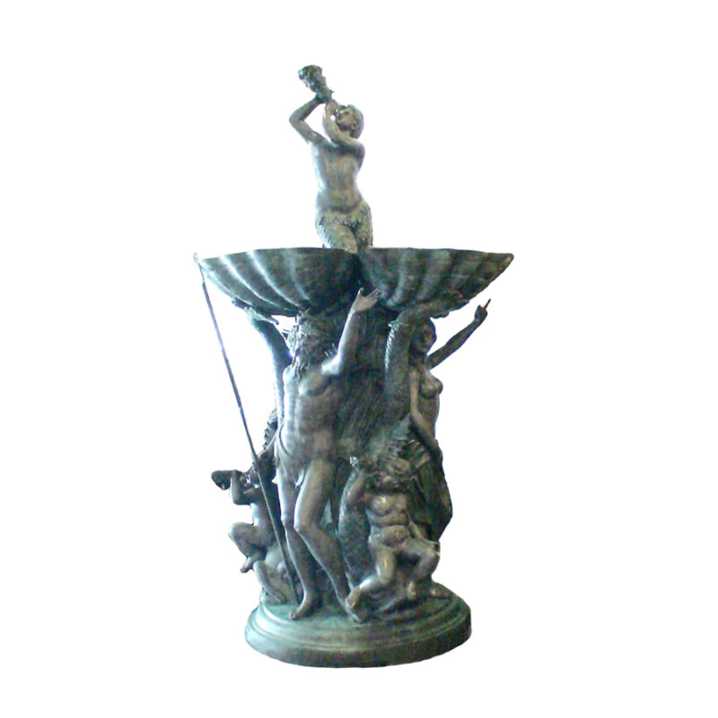 SRB703838 Bronze Neptune & Family Fountain Sculpture by Metropolitan Galleries Inc