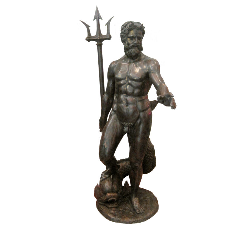 SRB707064 Bronze Neptune on Fish with Fork Sculpture by Metropolitan Galleries Inc