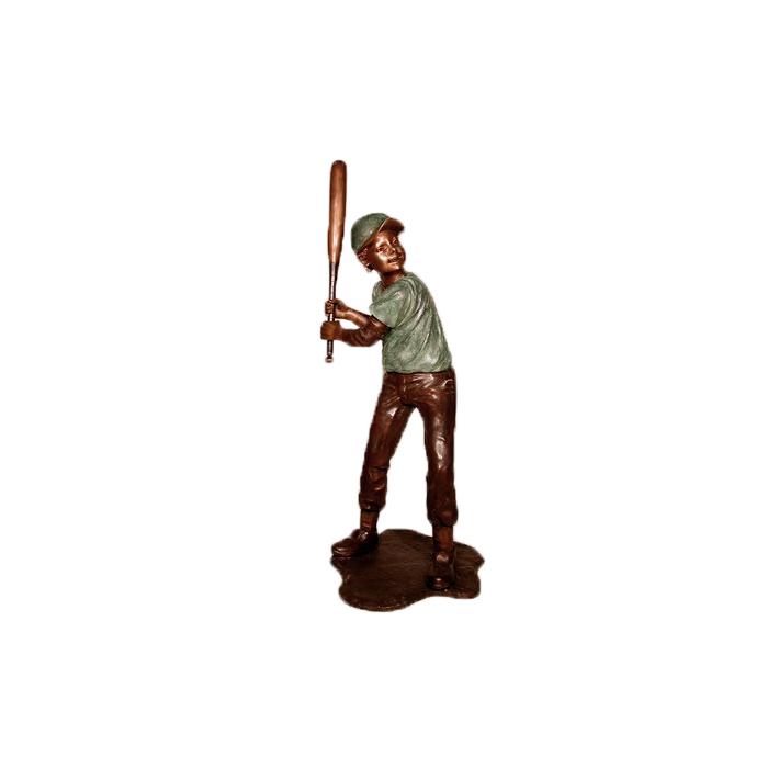 SRB050100 Bronze Boy Baseball Batter Sculpture by Metropolitan Galleries Inc