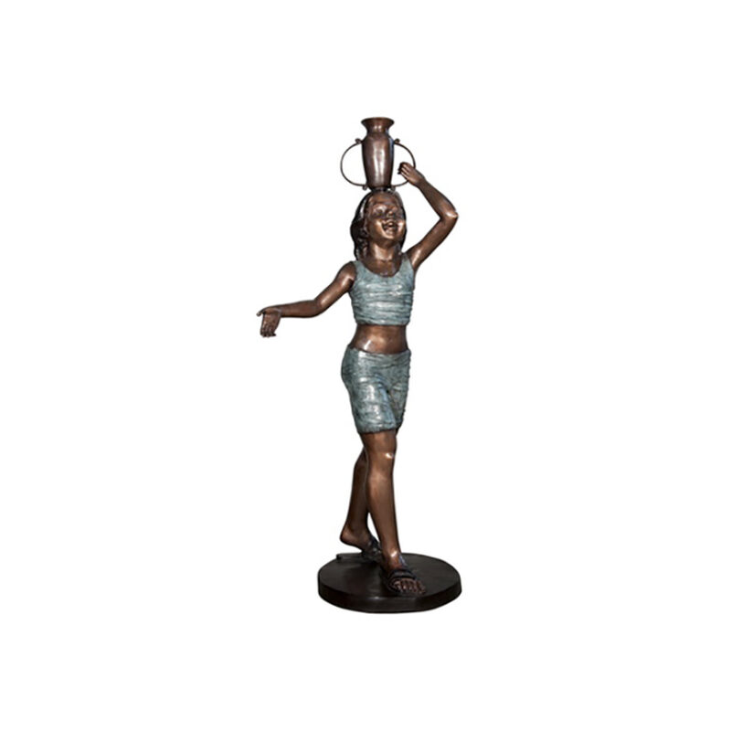 SRB056616 Bronze Girl balancing Jar Fountain Sculpture by Metropolitan Galleries Inc