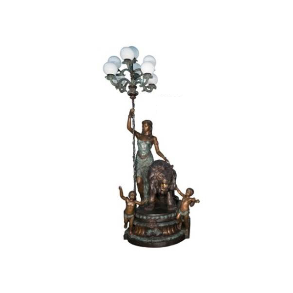 SRB056659-R Bronze Lady with Lion & Cherubs Candelabra Torchiere by Metropolitan Galleries Inc (Right)