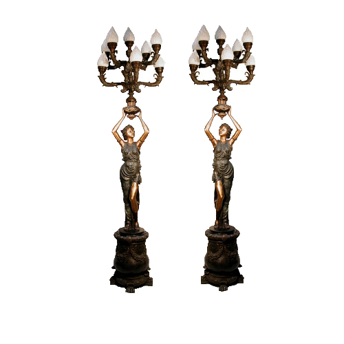 SRB056715 Bronze Lady Candelabra atop Pedestal Sculpture Set by Metropolitan Galleries Inc