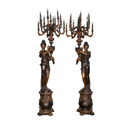 SRB056842-44 Bronze Lady atop Pedestal Candelabra Sculpture Set by Metropolitan Galleries Inc