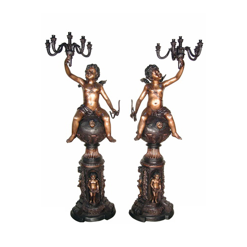 SRB057130 Bronze Cherub atop Globe Pedestal Candelabra Sculpture Set by Metropolitan Galleries Inc