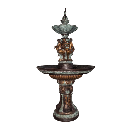 SRB057341 Bronze Four Boys Bowl Tier Fountain by Metropolitan Galleries Inc