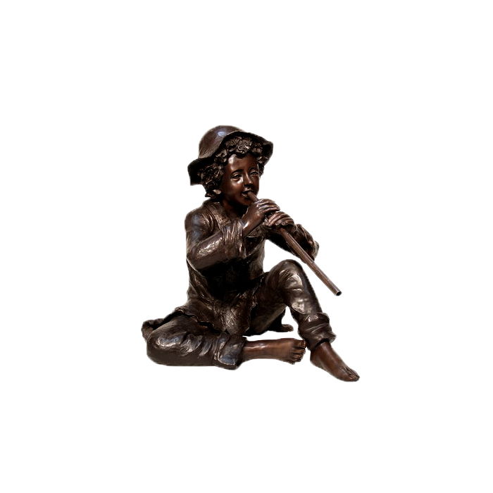 SRB074035 Bronze Boy sitting with Flute Sculpture by Metropolitan Galleries Inc