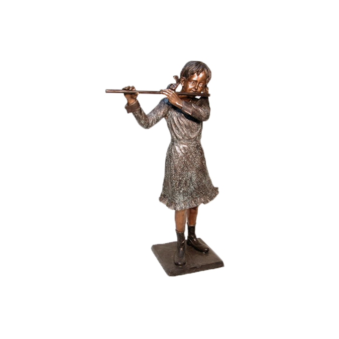 SRB074050 Bronze Girl Playing Flute Sculpture by Metropolitan Galleries Inc