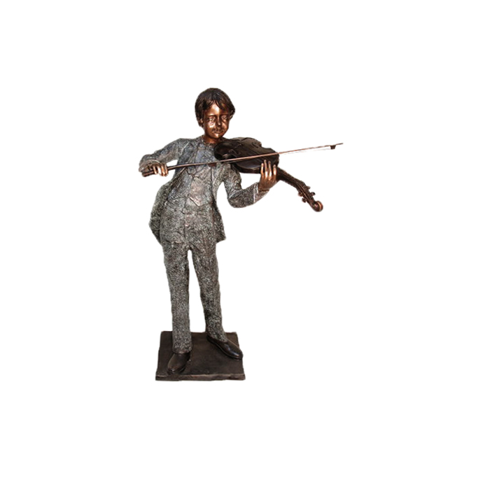 SRB074055 Bronze Boy playing Violin Sculpture by Metropolitan Galleries Inc