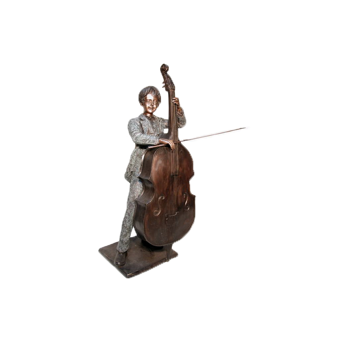 SRB074060 Bronze Boy playing Cello Sculpture by Metropolitan Galleries Inc