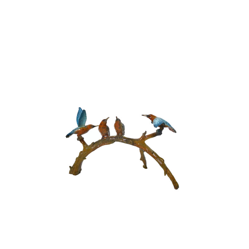 SRB097028C Bronze Colorful Hummingbirds on Branch Table-top Sculpture by Metropolitan Galleries Inc