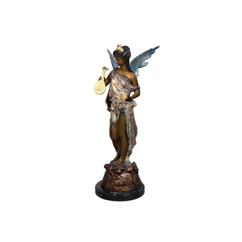 SRB098005C Bronze Angel with Harp Sculpture by Metropolitan Galleries Inc Color Patina