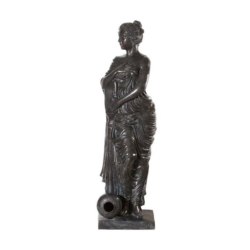 SRB55010 Bronze Lady Standing with Jar at Feet Fountain ny Metropolitan Galleries Inc