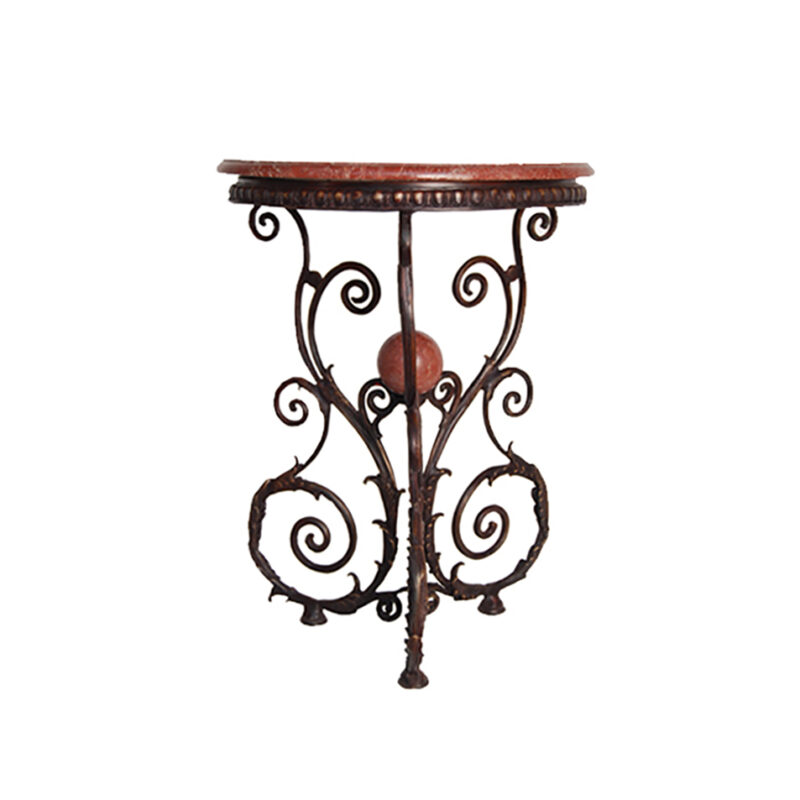 SRB88233 Bronze Classical Accent Table with Marble Surface by Metropolitan Galleries Inc
