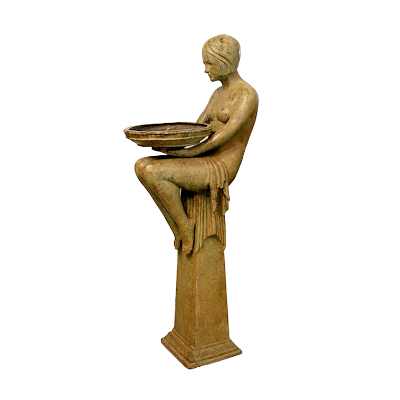 SRB89004 Bronze Art Deco Nude Lady Sitting atop Pedestal Fountain by Metropolitan Galleries Inc
